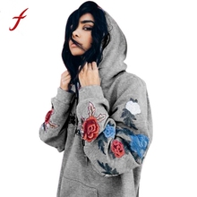 FEITONG Fashion Women Hoodie Sweatshirt Appliques Loose Floral Hooded Pullover Tops Blusa Casual High Quality Hoody sweatshirt