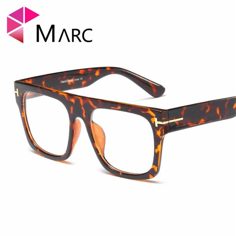 MARC 2019 Clear Lens Fashion Women Men Trend Frame Glasses Eye Wear Square Oversized Transparent Solid Blue Demi 1
