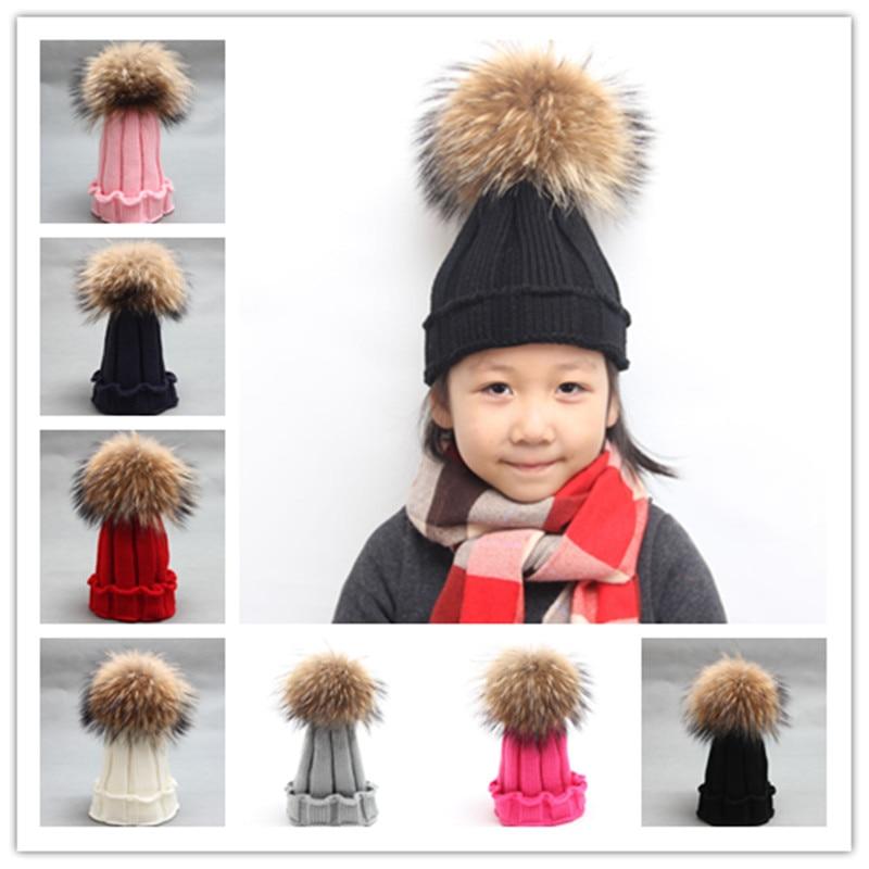 Bébé casquettes chapeaux Enfants chapeau automne hiver chaud 15 cm grand  raton laveur réel boule de fourrure tricoté laine chapeau Bébé garçon fille  chapeau ... be8669c528d
