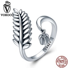 VOROCO Pure 100% 925 Sterling Silver Leaf Cuff Adjustable Free Size Open Rings For Women Engagement Wedding Fine Jewelry VSR093