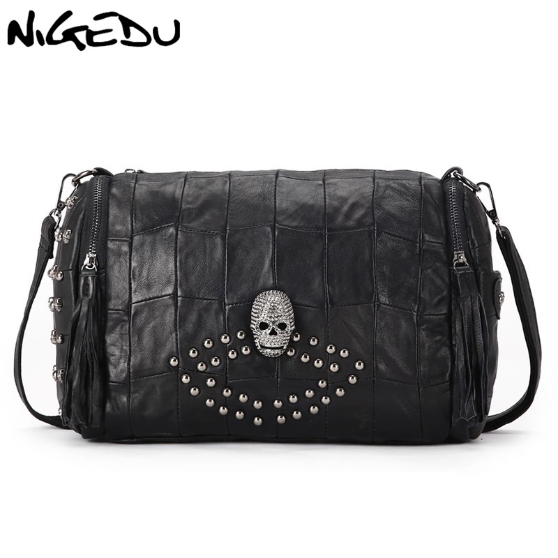 NIGEDU Brand Skeleton rivet women shoulder bag Genuine leather tassel female Handbags sheepskin Women's Crossbody Bags black vvmi 2016 new women handbag brand design rivet suede tassel bag chic classic vintage saddle bag single shoulder bag for female