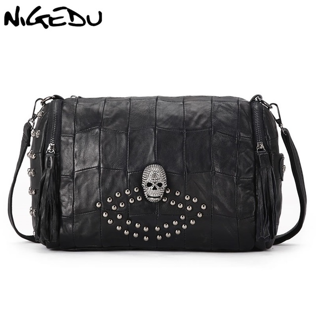 8a583e6f26bf NIGEDU Brand Skeleton rivet women shoulder bag Genuine leather tassel female  Handbags sheepskin Women s Crossbody Bags