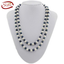 Vintage Necklace 2015 New Design White NaturalFreshwater Pearl 160cm Long Necklace, Double Triple [DELIGHT]