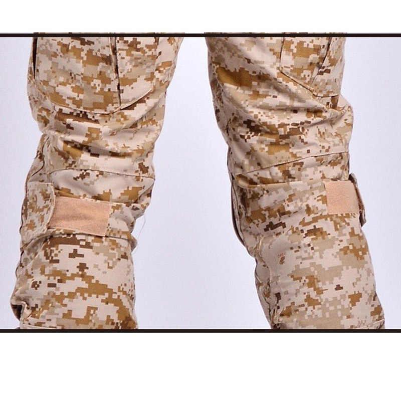 Тактическая камуфляжная военная форма, костюм для мужчин, армейская одежда США, рубашка в армейском стиле + брюки карго наколенники