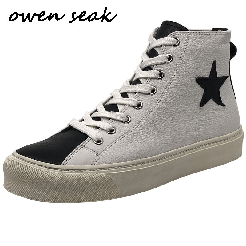 New Men Casual Boots Cow Leather High TOP Ankle Boots Luxury Trainers Spring Lace Up Flats