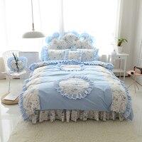 Princess Flower Printed Duvet Cover+Bed Skirt+Pillowcases 4/6/8pcs Blue Ruffle Bedspread Decor Bedding Sets Bedroom Home Textile