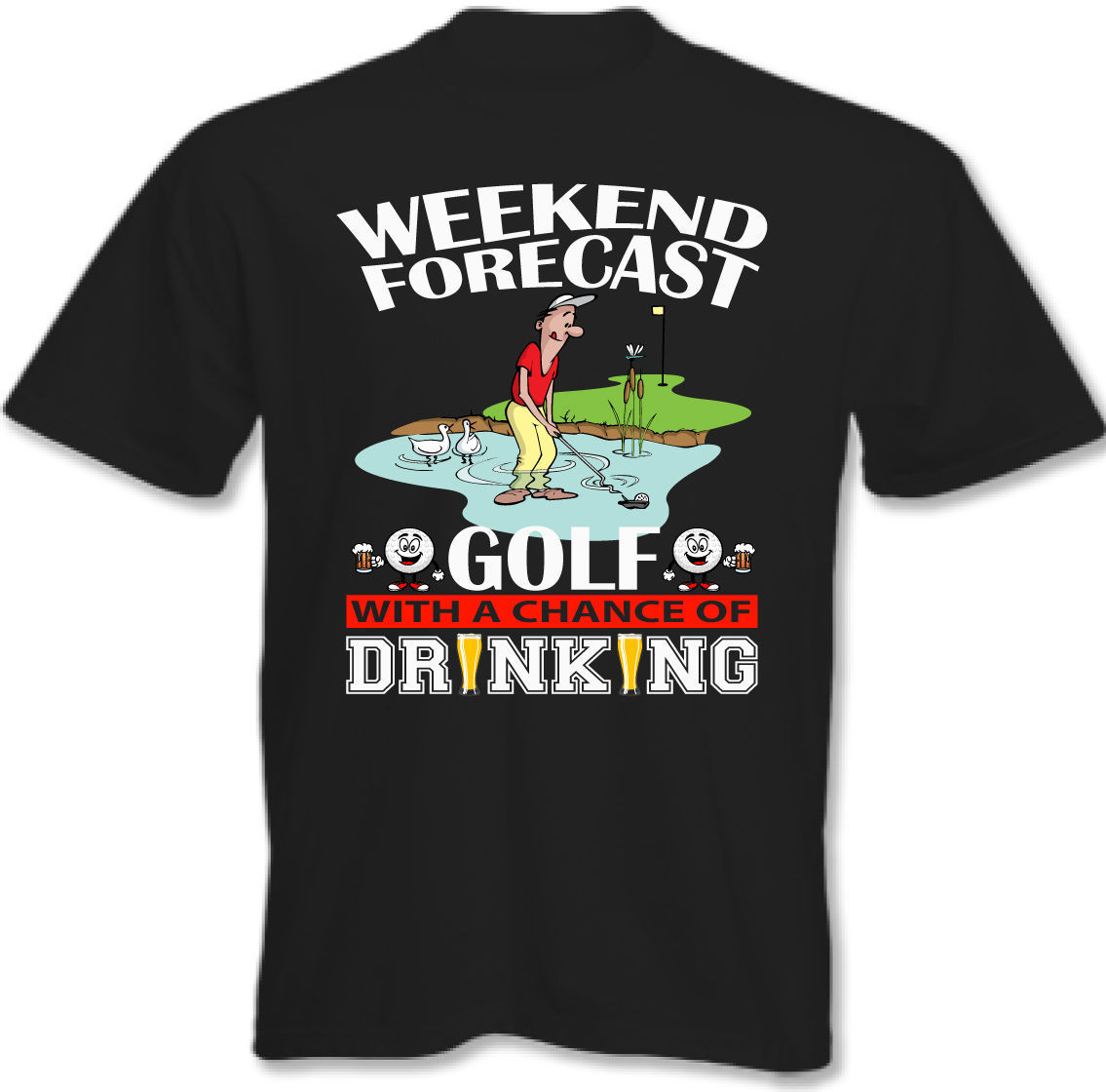 FIN DE SEMANA prevision GOLF BEBIDA - Camiseta Hombre Club Bolso Putter Short Sleeve Round Neck T Shirt Promotion