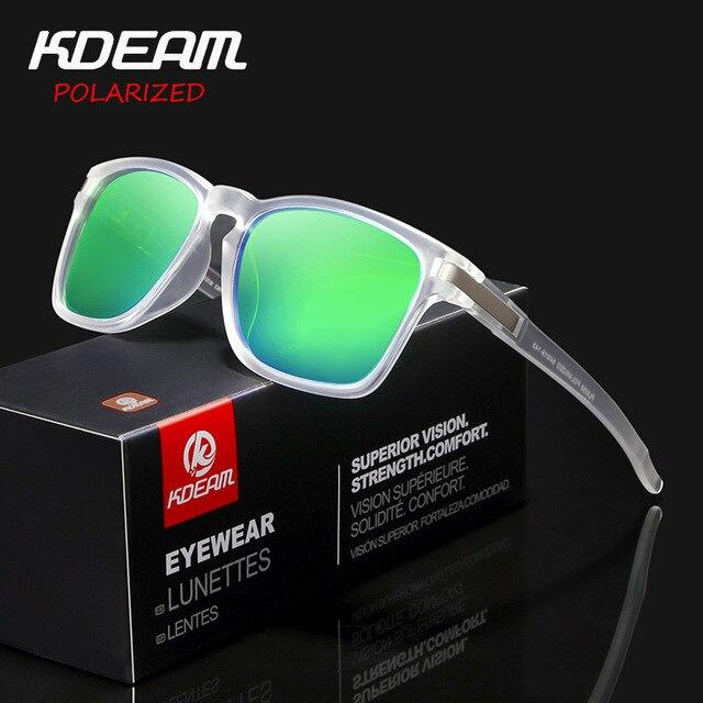 Men's Sun Glasses From KDEAM  Brand Square Polarized Sunglasses Men Classic Design All-Fit Mirror Boy Sunglasses With Brand Box
