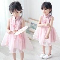 Baby Girls Qipao 2018 Summer Sleeveless Hanfu Dress Vintage Chinese Style Cheongsam Mandarin Collar Kids Ball Gown Vestidos
