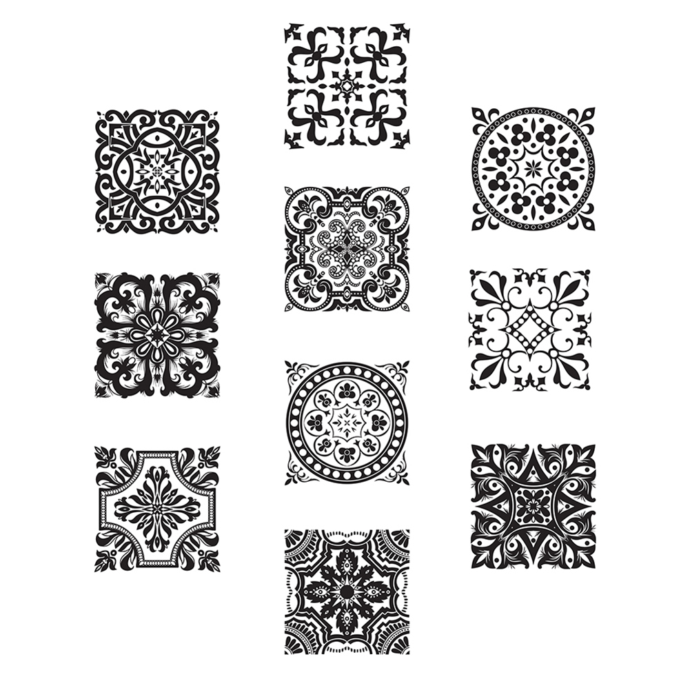 Black and White Retro Tile Tiles Stickers Bathroom Bathroom Wall Stickers Home Decor DIY Wall Poster Sticker tile stickers E5M1