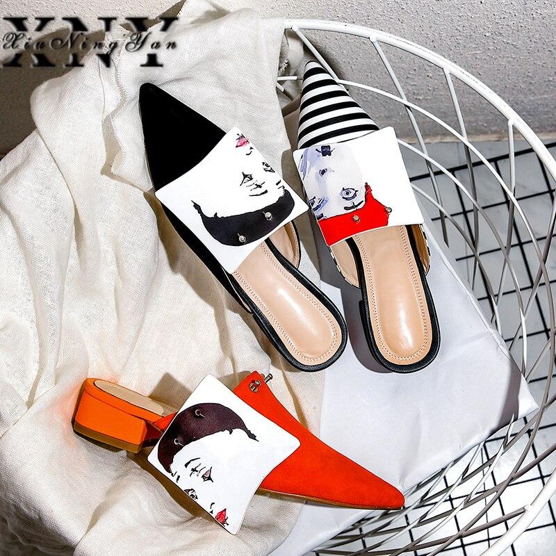 Ayakk.'ten Terlikler'de Moda Rahat Kadın Ayakkabı Orta Topuklu Yeni Varış Sivri Burun Koyun Süet Kayma Yok Topuk bayan Ayakkabı Sandalet Katır bayan'da  Grup 1