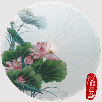 JPY Super Large Green Leaf Lotus Oil Paper Umbrella Summer Flowers Blossom Paper Parasol New House Decor Paper Umbrell Hanging