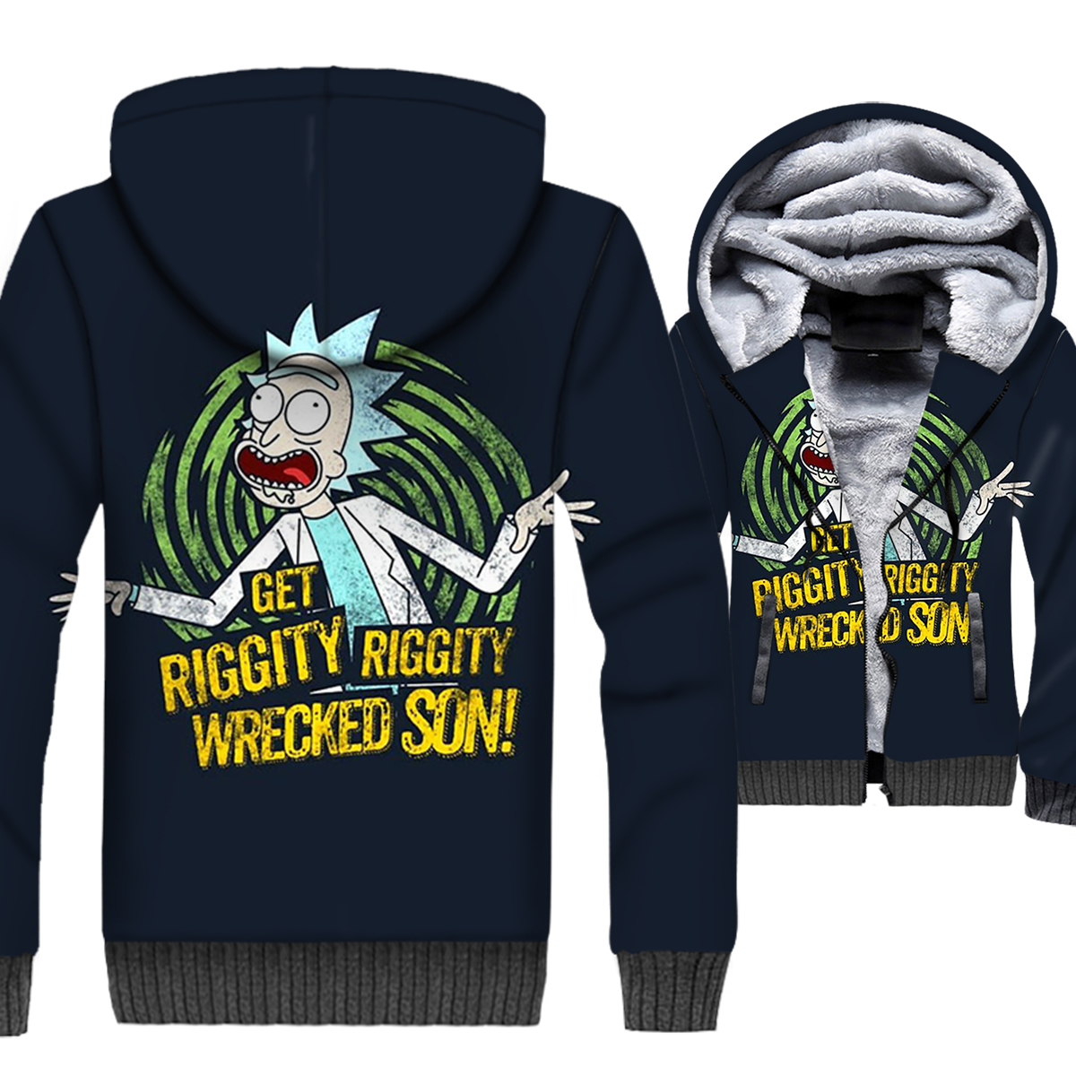 Rick and Morty Jacket 3D Print Hoodie Men Get Riggity Wrecked Son Sweatshirt Winter Thick Fleece Coat Funny Cartoon Streetwear in Jackets from Men 39 s Clothing