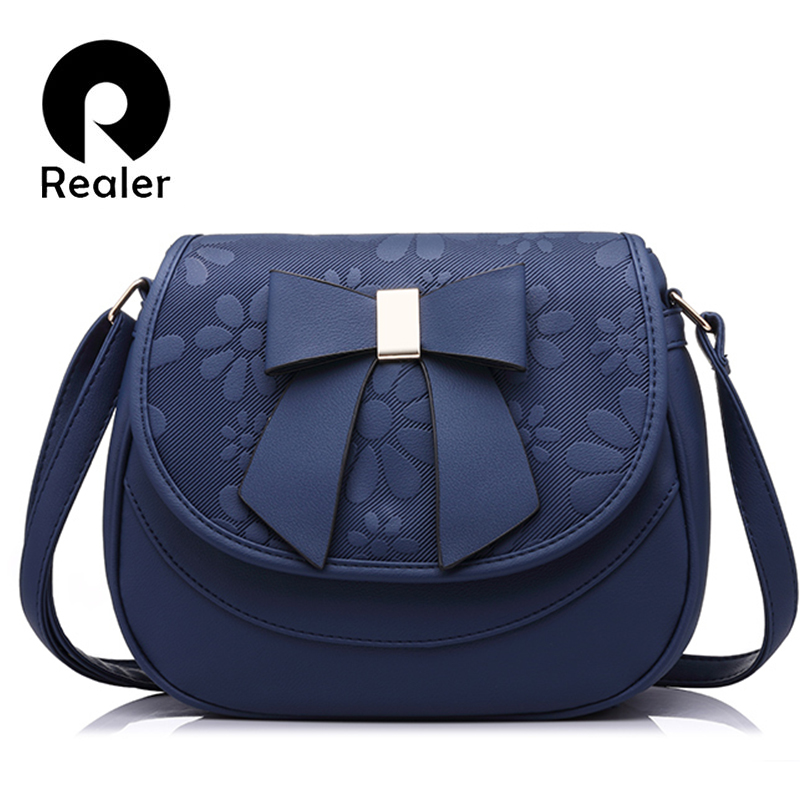 Realer brand women handbag female shoulder bag with bow soft ladies saddle bag high quality fashion women crossbody bag vvmi 2016 new women handbag brand design rivet suede tassel bag chic classic vintage saddle bag single shoulder bag for female