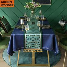 European High Grade Long Table Runners Modern Green Strip Runner Bed Flag Velvet Fabric Dinner Home Decoration Custom Made