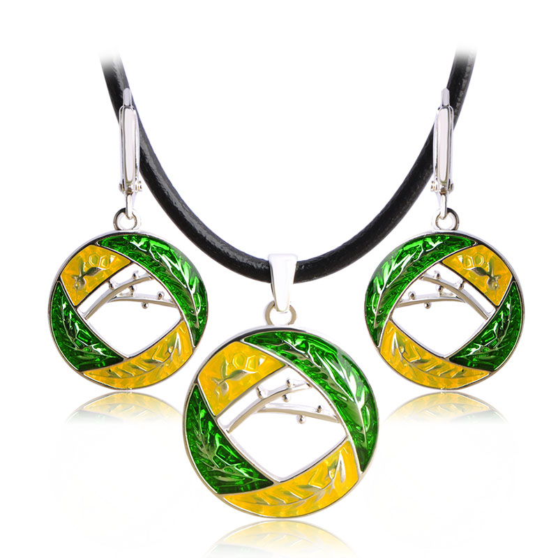 Blucome High Quality Dubai Wedding Jewelry Sets Enamel Round Pendant Necklace Drop Earrings For Women Rope Chain Collier Brincos