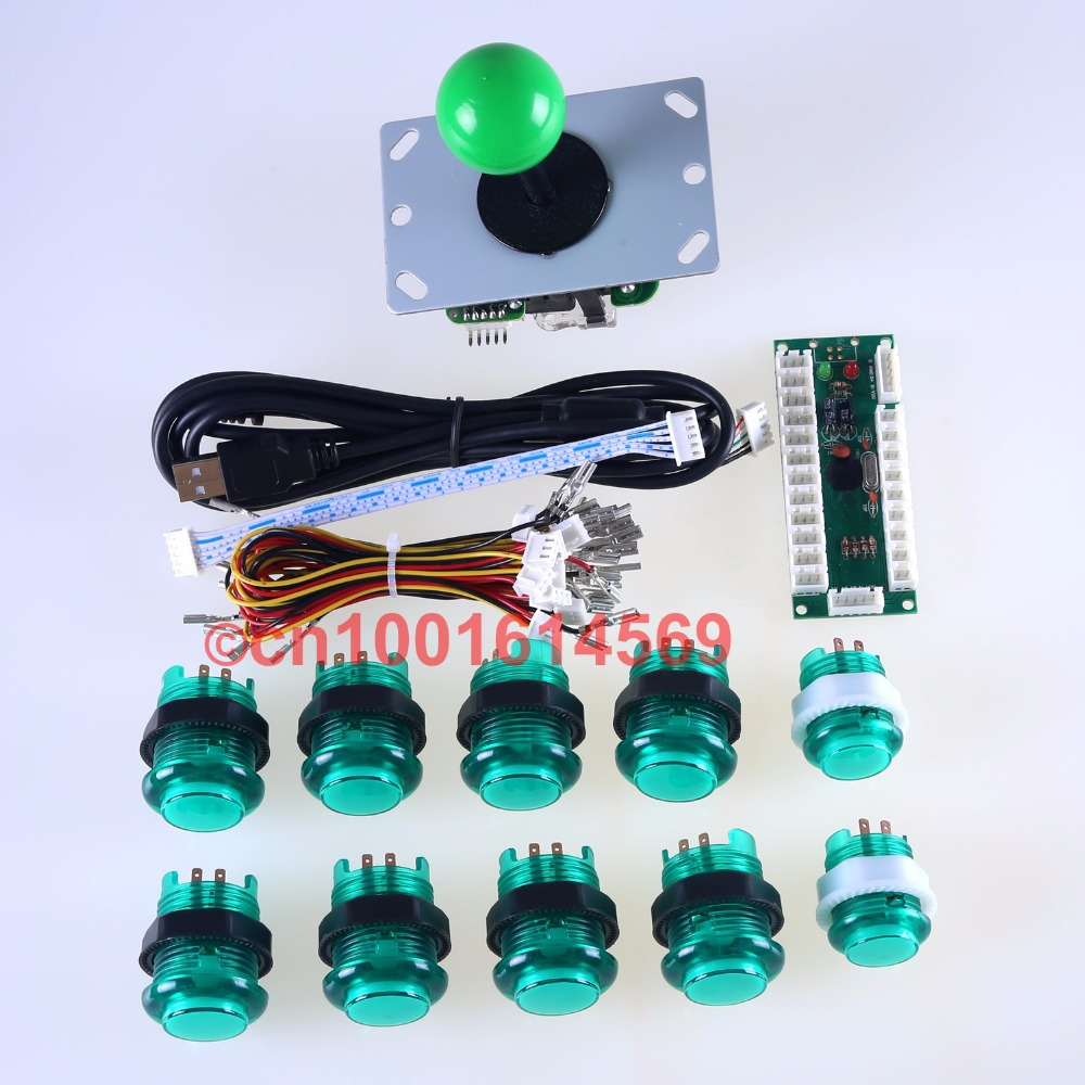 Arcade DIY Kits Parts USB Controller Handle To PC Rocker + Joystick + 10 LED Lamp Push Buttons For Raspberry PI Retropie Project