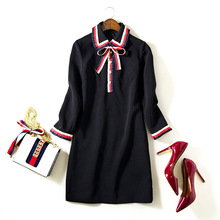 2017 Spring Summer European Style Women's High-end Custom Bow Tie Elegant Polo Collar Ruffled Lady Dress Long Sleeved Mini Dress