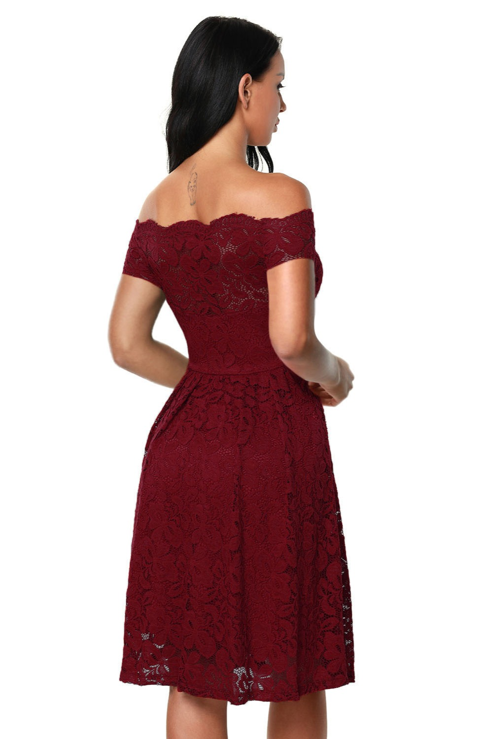 e9d07ee6fdc5 Zmvkgsoa Wine red blue black lace dress women off shoulder fit and flare  korean fashion sexy elegant women dresses online Q61446