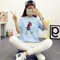 Kawaii Lindo de la Historieta Impresa camiseta Del Verano Las Mujeres Tps de Manga Corta O-cuello de La Camiseta Ropa Casual De la Mujer Tees Envío Gratis