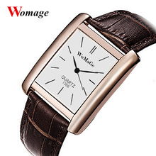 Women Rectangle Quartz Leather WoMaGe