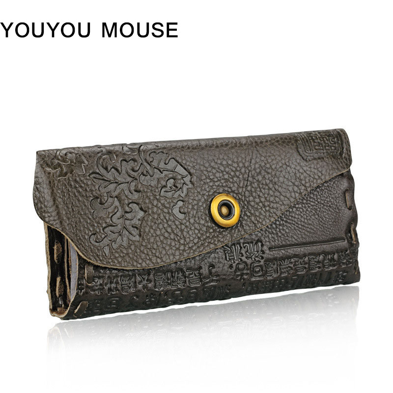 YOUYOU MOUSE Women Business Style Wallet Female Coin Purses Genuine Leather Embossing Hasp Women Elegant Female Women's Wallets