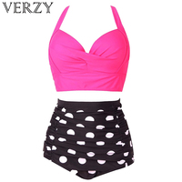 Verzy New Tankini Set Women Two Pieces Bikini Plus Size Padded Print Striped Dot Solid High Waist Summer Bathing Suit 4 Colors