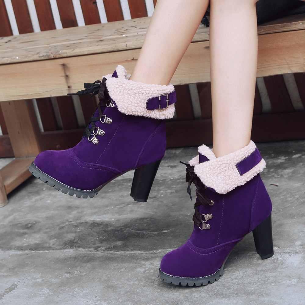 ANNYMOLI kış çizmeler kadın yarım çizmeler dantel-up yüksek topuk kısa çizmeler toka kalın topuk bayan ayakkabıları 2018 yeni kırmızı artı boyutu 3-11