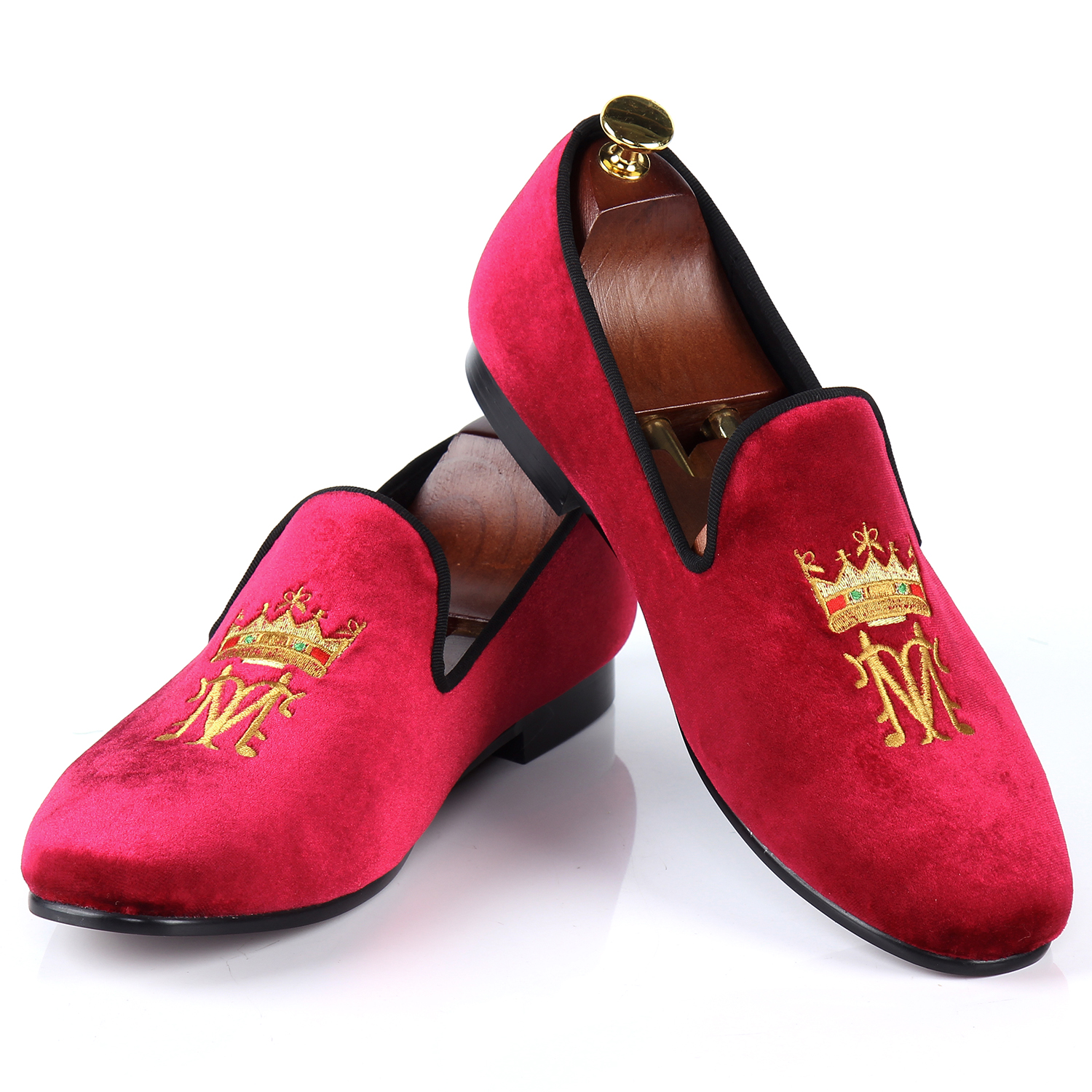 Harpelunde 2017 New Arrival Men Shoes Casual Burgundy Velvet Loafers Embroidery Smoking Slippers Size 7-13 new black embroidery loafers men luxury velvet smoking slippers british mens casual boat shoes slip on flat shoes espadrilles