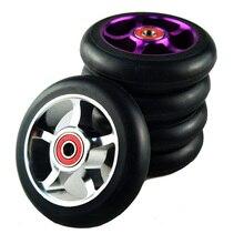 Rodas de patinete para scooter de 100mm, roda de cadeira de rodas de liga de alumínio, hub em 2 peças 88a, alta elasticidade, velocidade de precisão