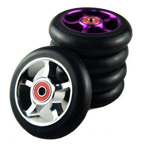 Image 1 - Rodas de patinete para scooter de 100mm, roda de cadeira de rodas de liga de alumínio, hub em 2 peças 88a, alta elasticidade, velocidade de precisão