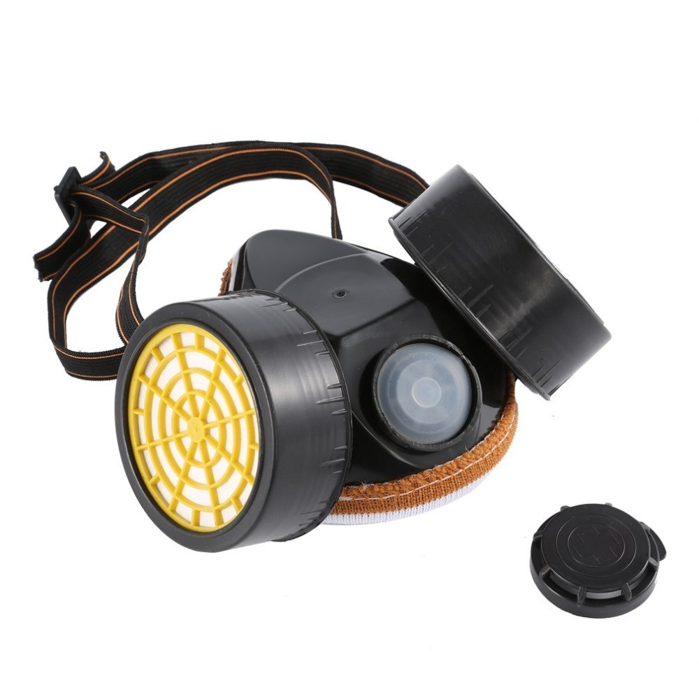 Black Gas Mask Emergency Survival Safety Respiratory Gas Mask Anti Dust Paint Respirator Mask With 2 Dual Protective Filter Promote The Production Of Body Fluid And Saliva Personal Health Care