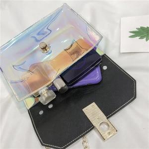 Image 3 - 패션 핸드백 메신저 가방 pvc 핸드백 버클 디자인 메신저 가방 레이저 어깨 가방
