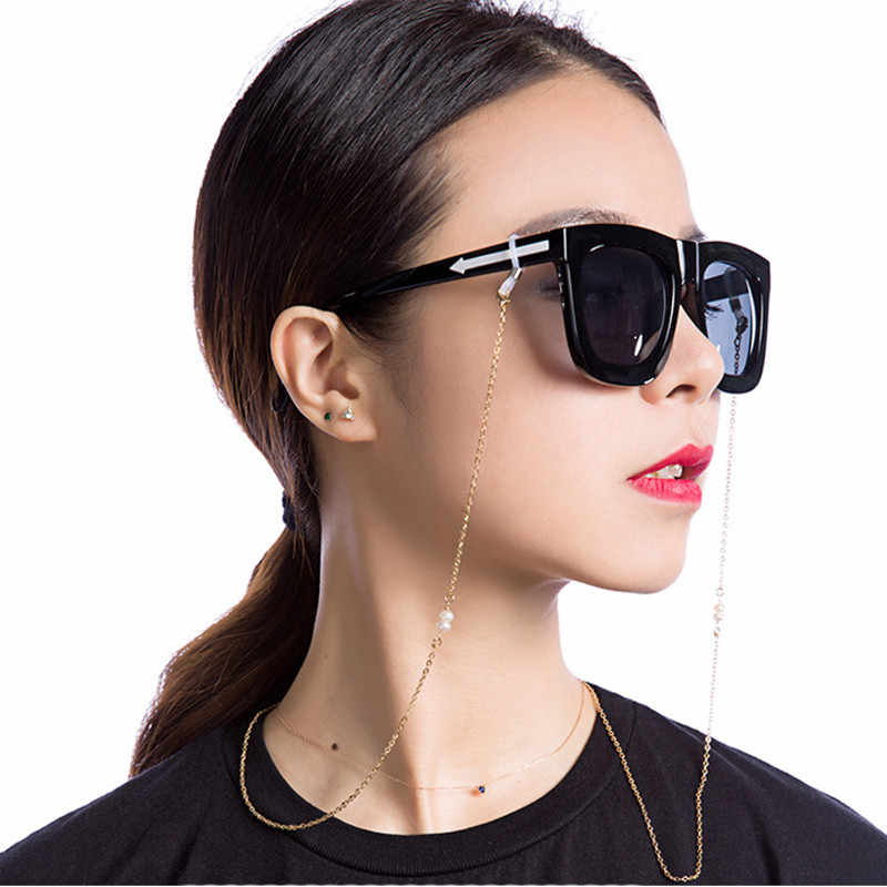 Gold Plated Stainless Steel Link Chain Eyeglasses Chains Glasses Rope Sunglasses Strap Cord Neck Band