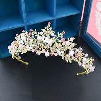 Fashion Gold Tiara Leaf Pink Tiara Headband Baroque Crystal Crown Bridal Hair Accessories Wedding Jewelry For