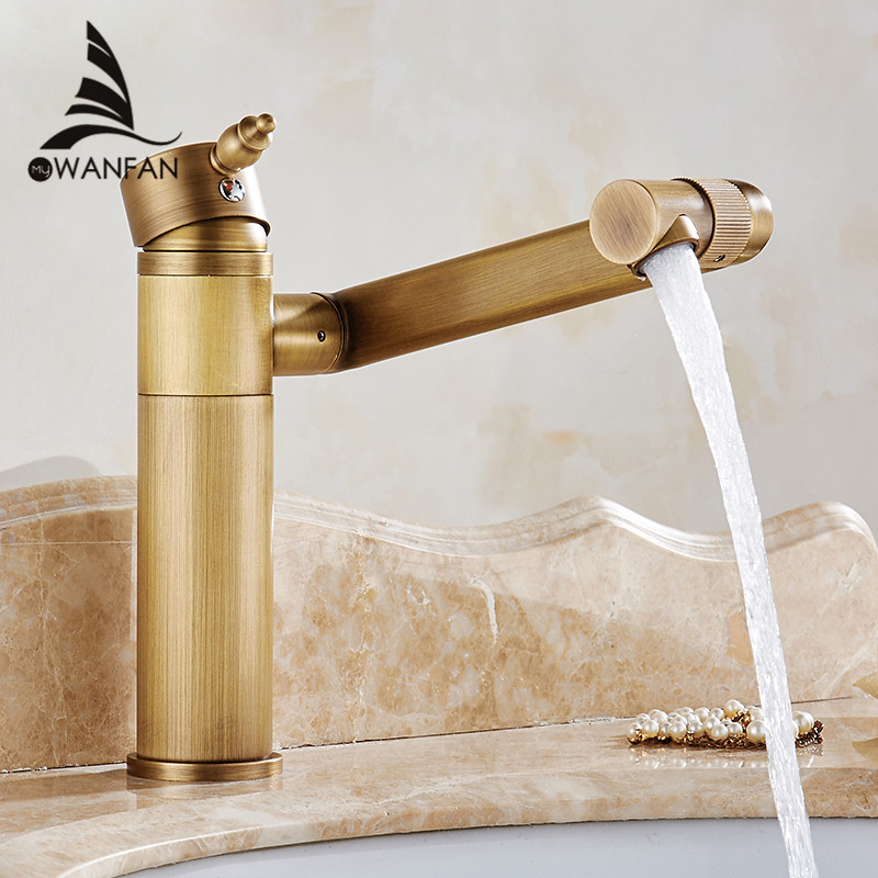 Basin Faucet Solid Brass 360 Degree Swivel Spout Bathroom Faucet Single Handle Sink Tap Mixer Hot and Cold Water Taps WF-18001 single handle bathroom faucet basin carving tap swivel sink water tap antique brass hot and cold kitchen mixer faucet with hose