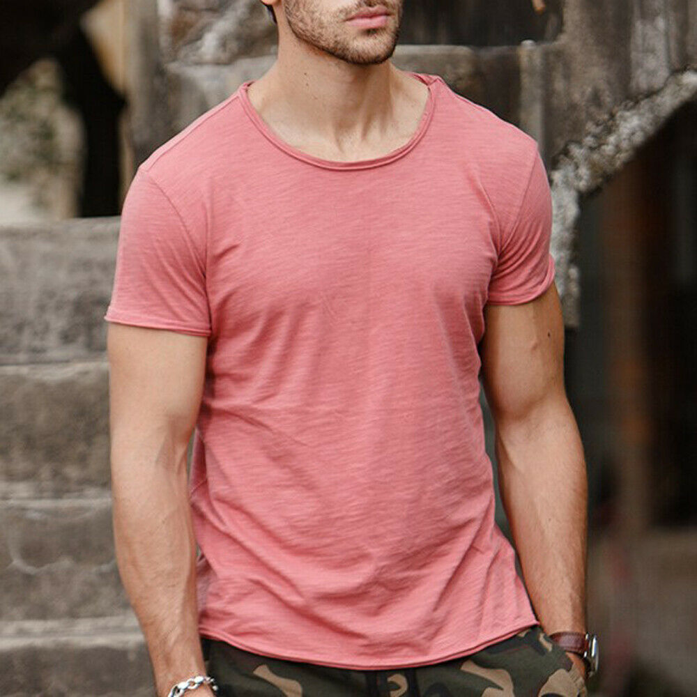 Men Gym Tight Tops T-Shirt Short Sleeve Slim Fit V-Neck Casual Fitness M-2XL Us