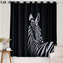 LzL Home animal pattern 3d window curtain zebra and deer with glasses blackout curtains for living room and kids room curtains
