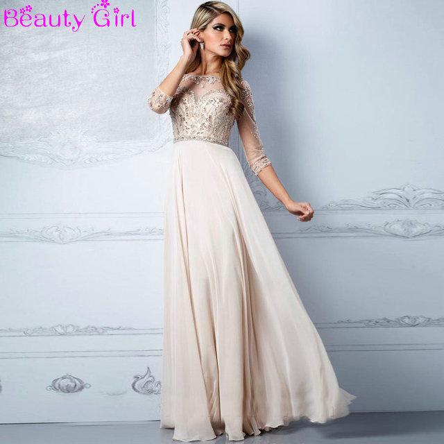 Long Prom Dress with Sheer Sleeves