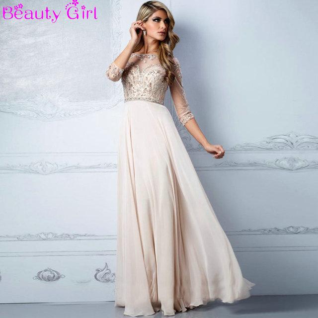 88b97984c1 Ivory Straight Chiffon Long Prom Dresses Sheer Top Three Quarter Sleeve Shining  Beaded Prom Gown for Women vestido de festa