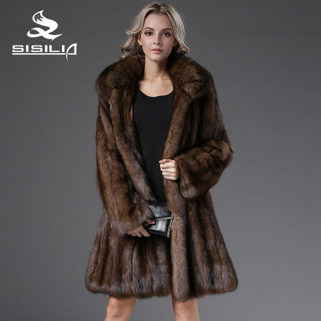 SISILIA 2016 Most Luxurious Russian Natural Sable Woman Coat Long Style Sable Fur 100% Real HandMade From Natural Fur for lady