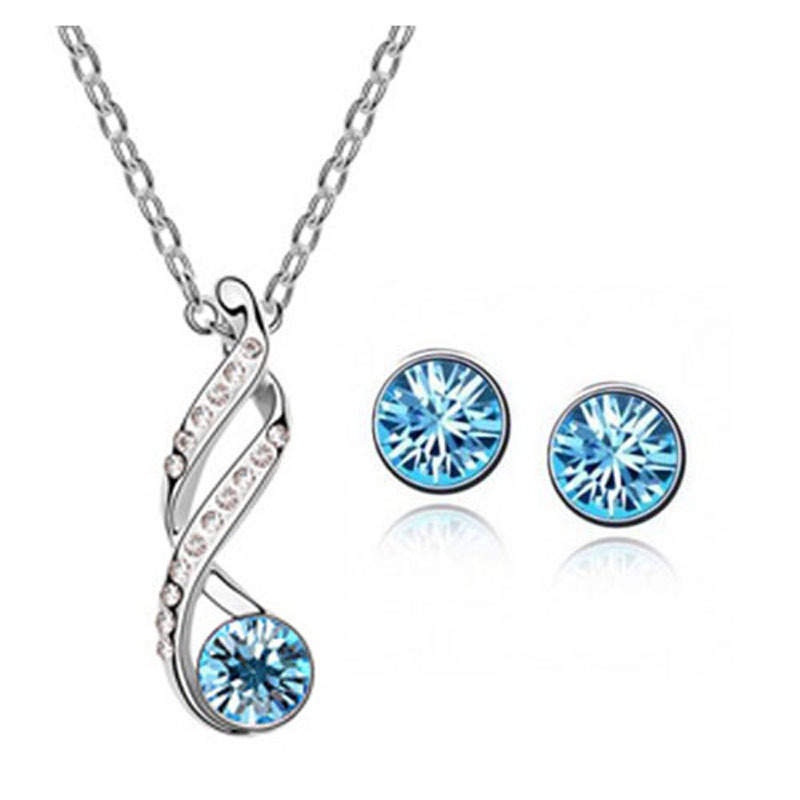 (Min order $10 mix)Jewelry wholesale crystal jewelry necklace + earrings fashion suit two sets of 102 + 005