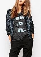 Women Sequin Coat Bomber Jacket Long Sleeve Zipper Streetwear Casual Loose Glitter Outerwear female Sequin Tops Streetwear Blue