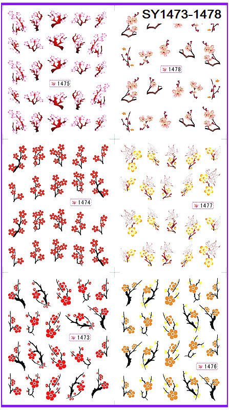 6 PACK/ LOT  GLITTER WATER DECAL NAIL ART NAIL STICKER PLUM BLOSSOM FLOWER SY1473-1478