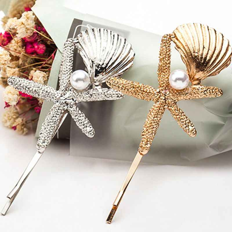 Women Metallic Glitter One Word Hairpin Ocean Seashell Starfish Textured Hair Clip Imitation Pearl Side Bangs Styling Barrette