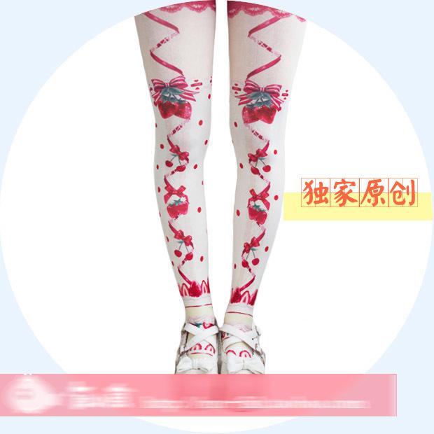 Princesa doce meia calça lolita Original HARAJUKU amo macio calças justas de fita de morango cereja arco impressão meia calça de veludo rosa vermelha