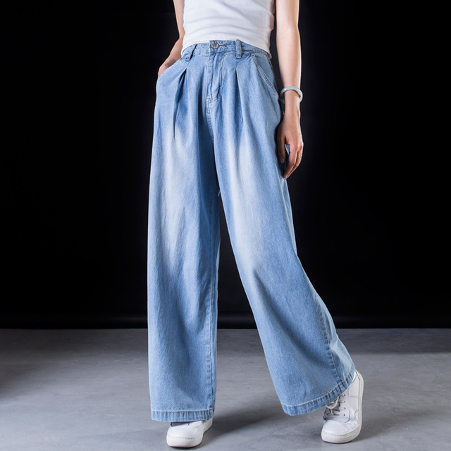 ae595a788ebbf Women Summer Autumn Loose Wide Leg Denim Pants Jeans Vintage Bleached  Zipper Plus Size Wide leg Trousers Washed Retro Jeans