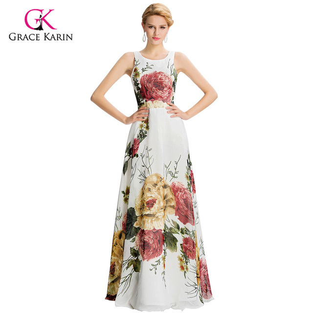 Flower Print Formal Dress