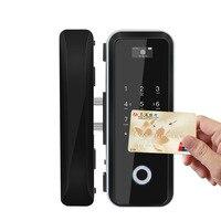 2018 Real Fechadura All The Visa Office Glass Door Fingerprint Lock Smart Password Card Double Open Electronic Remote Control