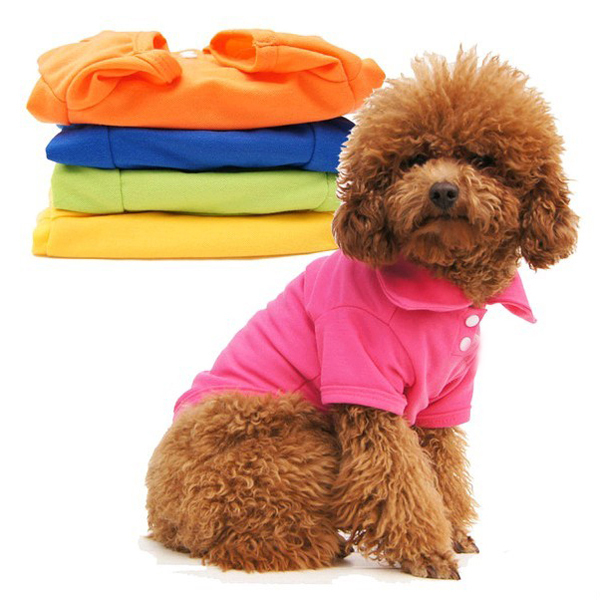 New Casual Puppy Cat Pet Dog Clothes Lapel POLO T-Shirts Solid Cozy Shirt XS S M L Large New